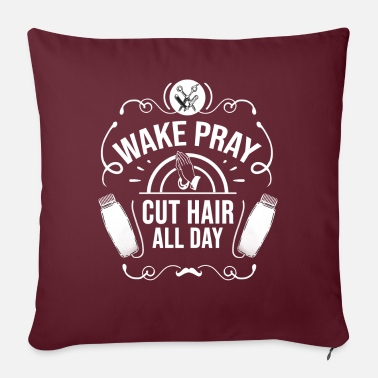 Haircutter Wake Pray Cut Hair Hairstylist Hairdresser - Pillowcase 17,3'' x 17,3'' (45 x 45 cm)