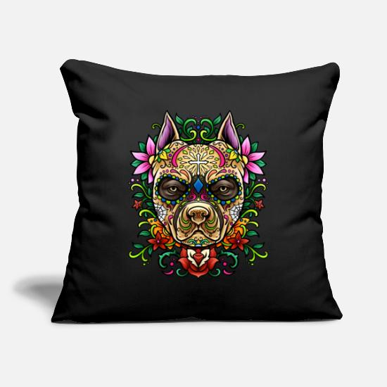 Dead Pillow Cases - Pit Bull Sugar Skull - Dias De Los Muertos | dog - Pillowcase 17,3'' x 17,3'' (45 x 45 cm) black