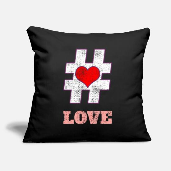 Love Copricuscini - Hashtag Love Love Heart In Love - Copricuscino nero