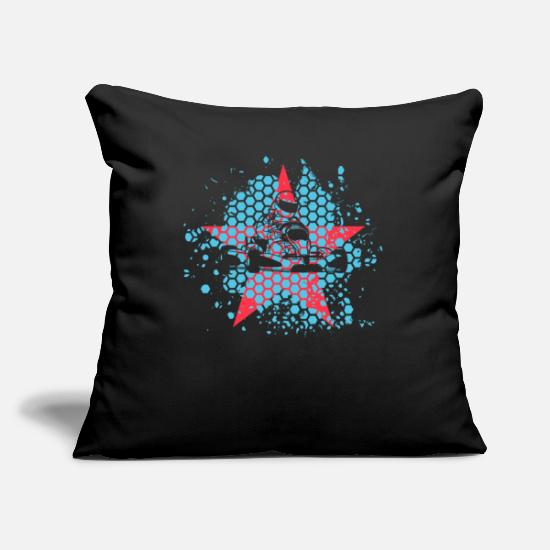 Star Pillow Cases - Kart driver with kart - Pillowcase 17,3'' x 17,3'' (45 x 45 cm) black