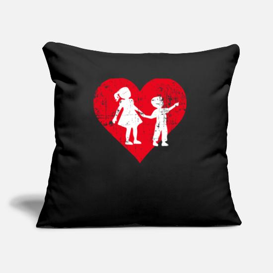 Quad Pillow Cases - A Heart For Siblings - Siblings Tee Shirt - Pillowcase 17,3'' x 17,3'' (45 x 45 cm) black