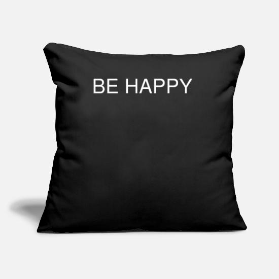 Hanover Pillow Cases - BE HAPPY - Pillowcase 17,3'' x 17,3'' (45 x 45 cm) black