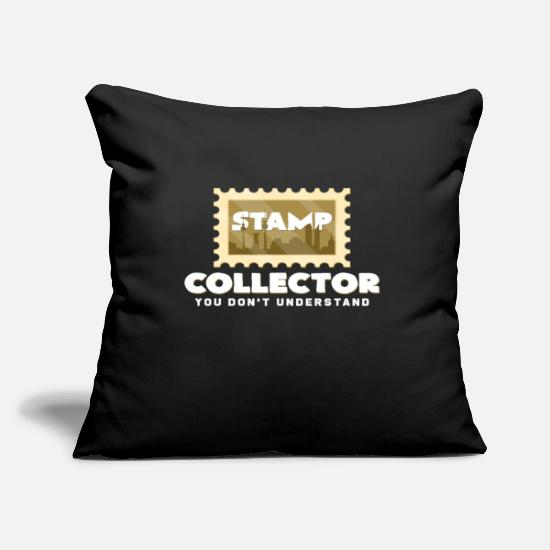 Gift Idea Pillow Cases - Stamp Collector | Stamp collection Gift idea - Pillowcase 17,3'' x 17,3'' (45 x 45 cm) black