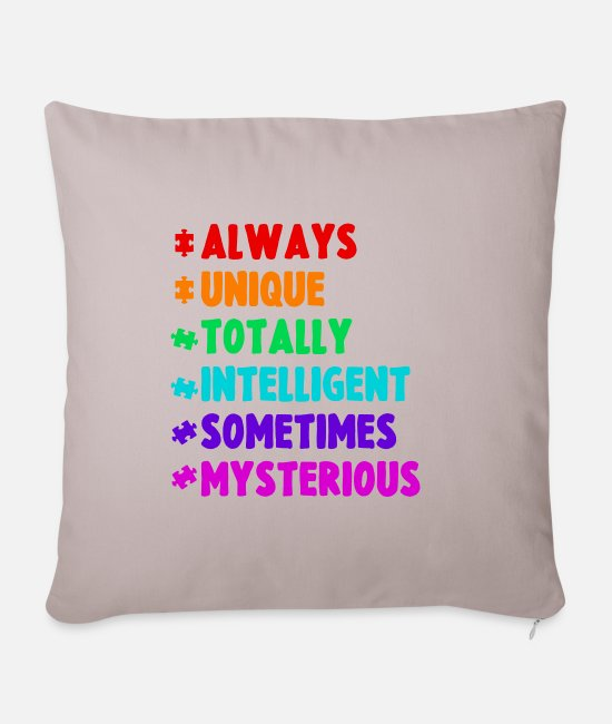 Medicine Pillow Cases - Autism Autist Asperger Autism ADHD Gift - Pillowcase 17,3'' x 17,3'' (45 x 45 cm) light taupe