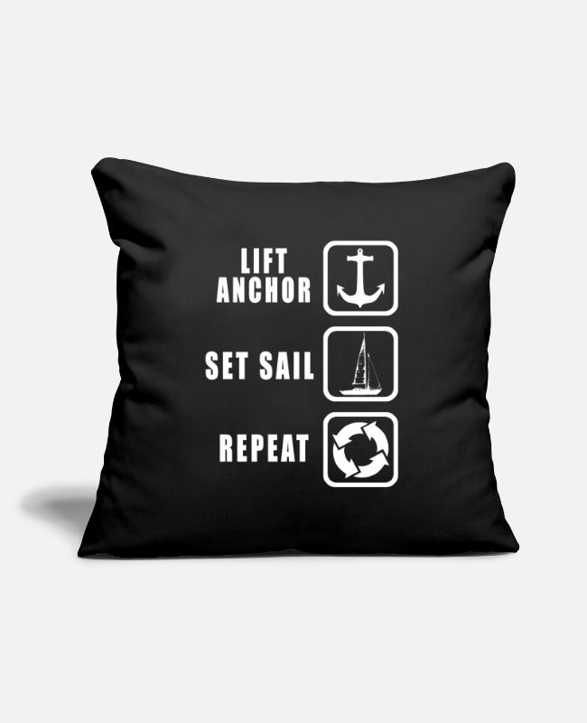 Anchor Pillow Cases - sailing - Pillowcase 17,3'' x 17,3'' (45 x 45 cm) black