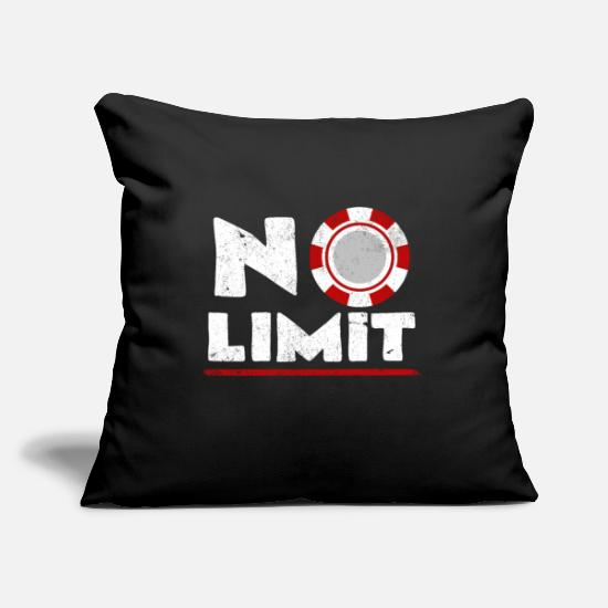Typography Pillow Cases - No Limit | Poker Gambling Typography Gift - Pillowcase 17,3'' x 17,3'' (45 x 45 cm) black
