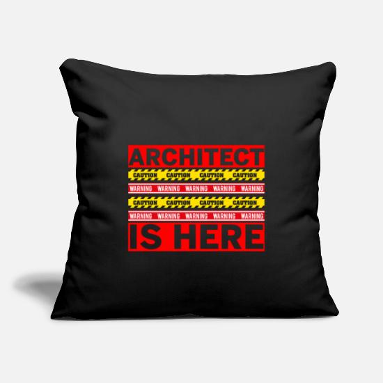 Gift Idea Pillow Cases - Architect building house sketches blueprint - Pillowcase 17,3'' x 17,3'' (45 x 45 cm) black