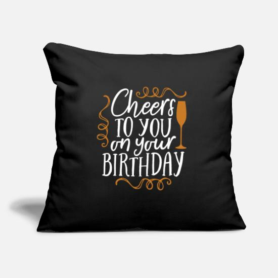Birthday Pillow Cases - Birthday congratulation gift - Pillowcase 17,3'' x 17,3'' (45 x 45 cm) black