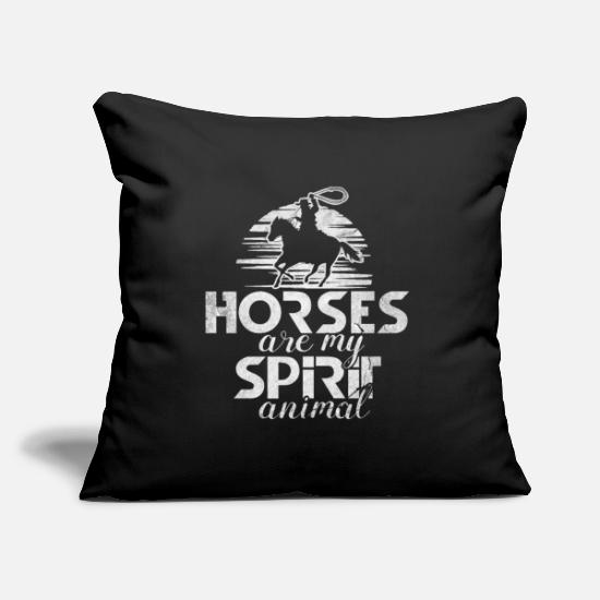 Show Jumping Pillow Cases - Horse riding foal galloping and trotting - Pillowcase 17,3'' x 17,3'' (45 x 45 cm) black