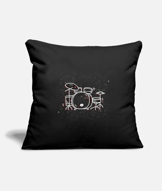 Birthday Pillow Cases - Drum lover musical instrument gift - Pillowcase 17,3'' x 17,3'' (45 x 45 cm) black