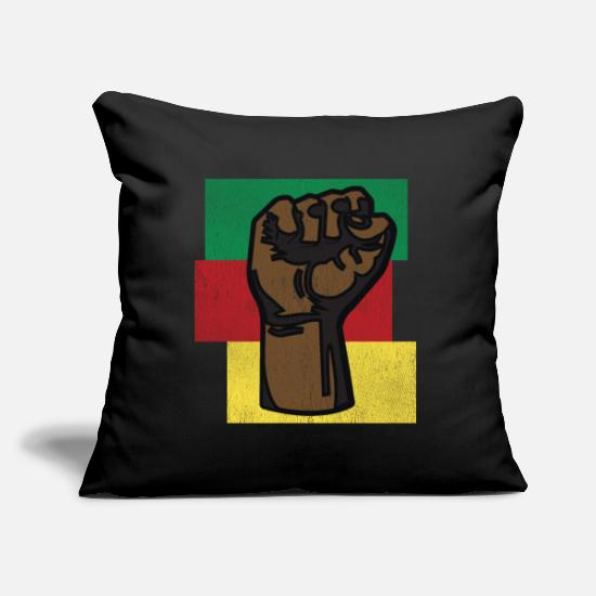Africa Pillow Cases - powerhand black history - Pillowcase 17,3'' x 17,3'' (45 x 45 cm) black