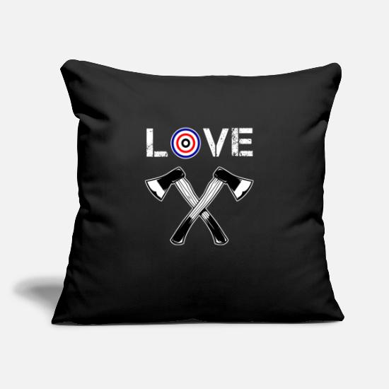 Game Pillow Cases - Axe Throwing Quote Sport Bullseye Throw Ax Sport - Pillowcase 17,3'' x 17,3'' (45 x 45 cm) black