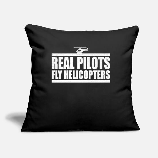 Birthday Pillow Cases - Helicopter Real Pilots Fly Helicopters Heli Fan - Pillowcase 17,3'' x 17,3'' (45 x 45 cm) black