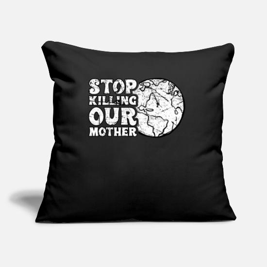 Earth Pillow Cases - Climate change environmentalist gift idea - Pillowcase 17,3'' x 17,3'' (45 x 45 cm) black