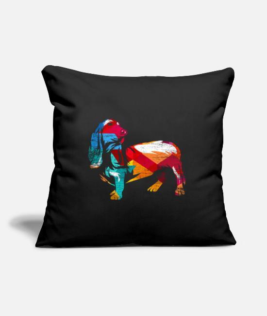 Birthday Pillow Cases - Basset Hound Search Dog Gift - Pillowcase 17,3'' x 17,3'' (45 x 45 cm) black
