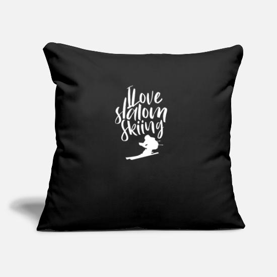 Gift Idea Pillow Cases - Slalom skiing - Pillowcase 17,3'' x 17,3'' (45 x 45 cm) black