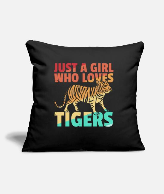 Wild Cat Pillow Cases - Tiger big cat predator leopard retro - Pillowcase 17,3'' x 17,3'' (45 x 45 cm) black