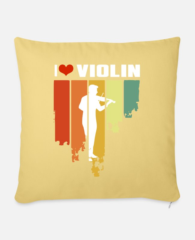Hobby Cook Pillow Cases - I Love Violin Distressed Edition - Pillowcase 17,3'' x 17,3'' (45 x 45 cm) washed yellow