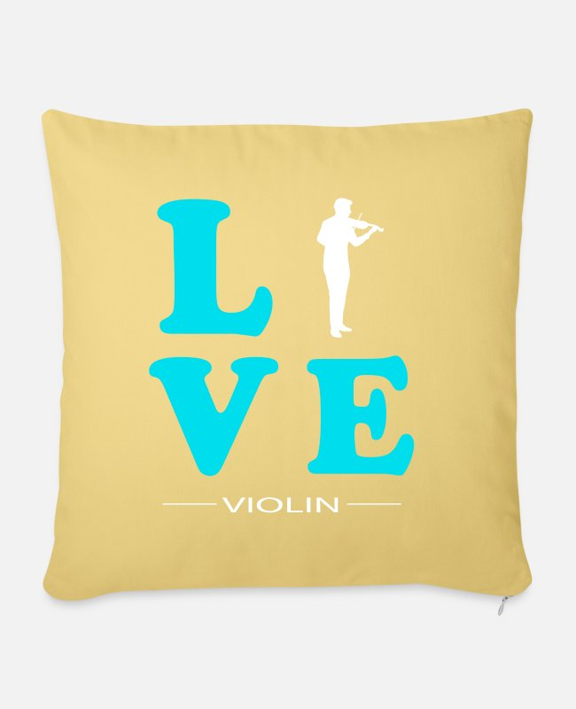 Hobby Cook Pillow Cases - VIOLIN LOVE - Pillowcase 17,3'' x 17,3'' (45 x 45 cm) washed yellow