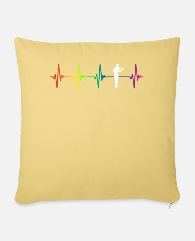 Chain Pillow Cases - Violin Rainbow Heartbeat - Pillowcase 17,3'' x 17,3'' (45 x 45 cm) washed yellow