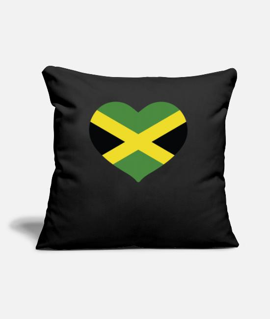 English Pillow Cases - HEART JAMAICA - Pillowcase 17,3'' x 17,3'' (45 x 45 cm) black