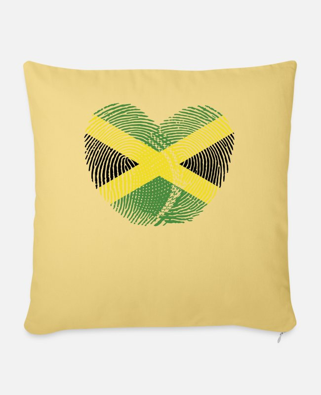 English Pillow Cases - Jamaica Heart Group Tee Shirts - Pillowcase 17,3'' x 17,3'' (45 x 45 cm) washed yellow