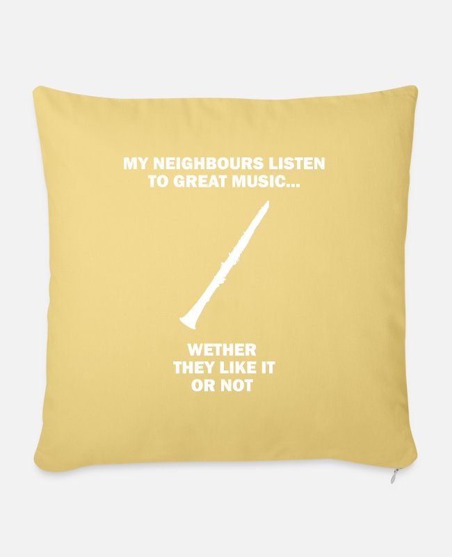Wind Instrument Pillow Cases - Funny My Neighbors Listen To Great Music - Pillowcase 17,3'' x 17,3'' (45 x 45 cm) washed yellow