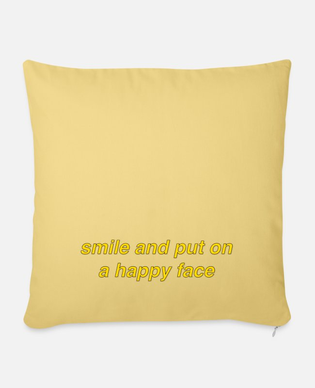 Quote Pillow Cases - Joker Quote Caption Subtitle: Smile Happy Face - Pillowcase 17,3'' x 17,3'' (45 x 45 cm) washed yellow