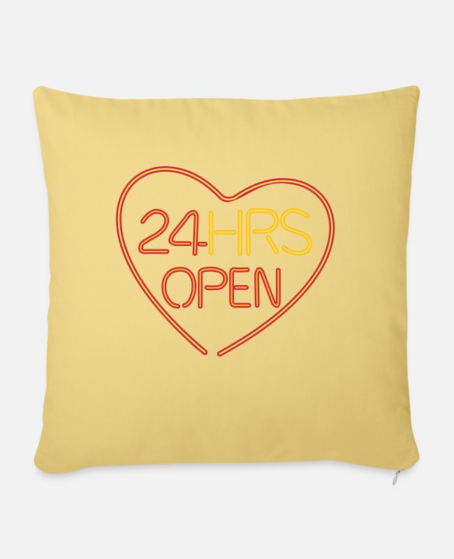 Marriage Neon Fondness Welfare Sex Pillow Cases - Neon: 24 HRS open heart - Pillowcase 17,3'' x 17,3'' (45 x 45 cm) washed yellow