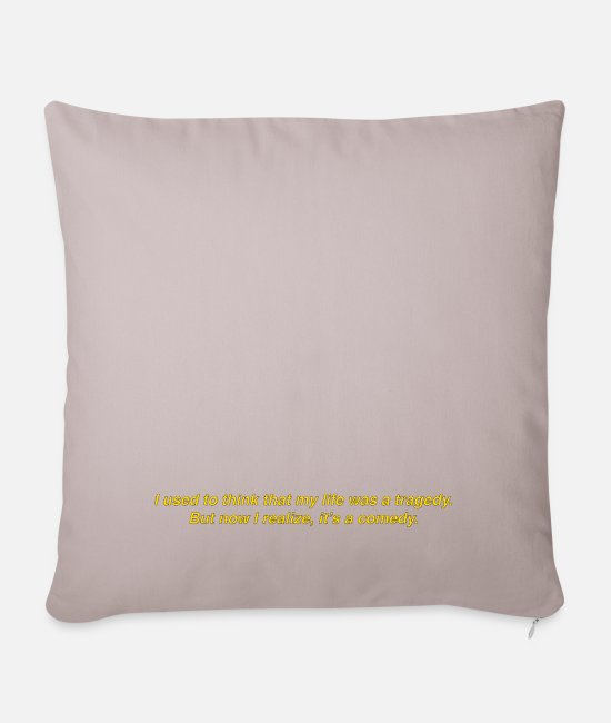 Sub Pillow Cases - Subtitle Caption Quote Joker: Life Tragedy Comedy - Pillowcase 17,3'' x 17,3'' (45 x 45 cm) light taupe