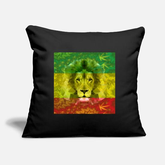 Rasta Pillow Cases - Rasta Lion - Pillowcase 17,3'' x 17,3'' (45 x 45 cm) black
