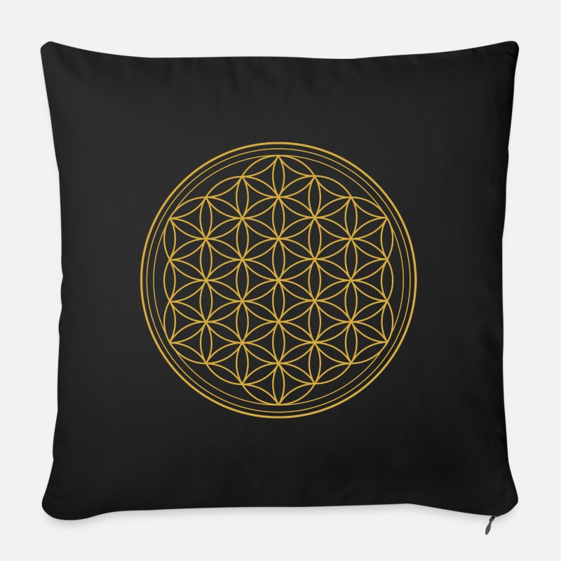 Reiki Pillow cases - Flower of Life - Flower of Life, Pillow / Pillow - Pillowcase 17,3'' x 17,3'' (45 x 45 cm) black