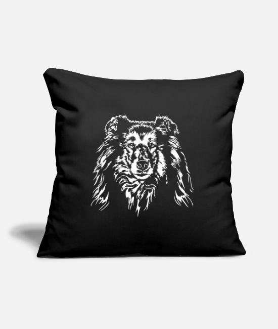 Rough Collie Pillow Cases - Longhair COLLIE - ROUGH COLLIE Dogs Wilsigns - Pillowcase 17,3'' x 17,3'' (45 x 45 cm) black