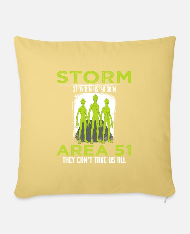 "Space Pillow Cases - ""Storm 37 14'0'N 115 48'30'W Area 51 They Can't - Pillowcase 17,3'' x 17,3'' (45 x 45 cm) washed yellow"