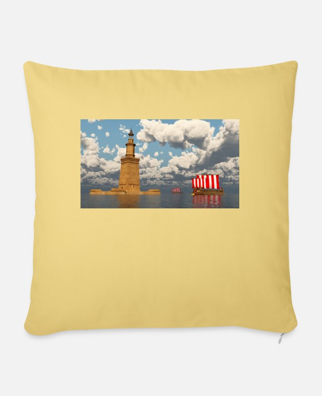 Monument Pillow Cases - Pharos of Alexandria and ancient warships - Pillowcase 17,3'' x 17,3'' (45 x 45 cm) washed yellow