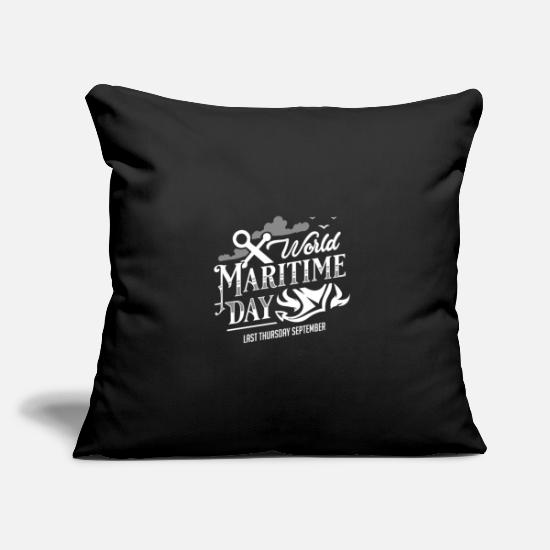 Gift Idea Pillow Cases - Ocean sea captain steering wheel ship anchor feast day - Pillowcase 17,3'' x 17,3'' (45 x 45 cm) black