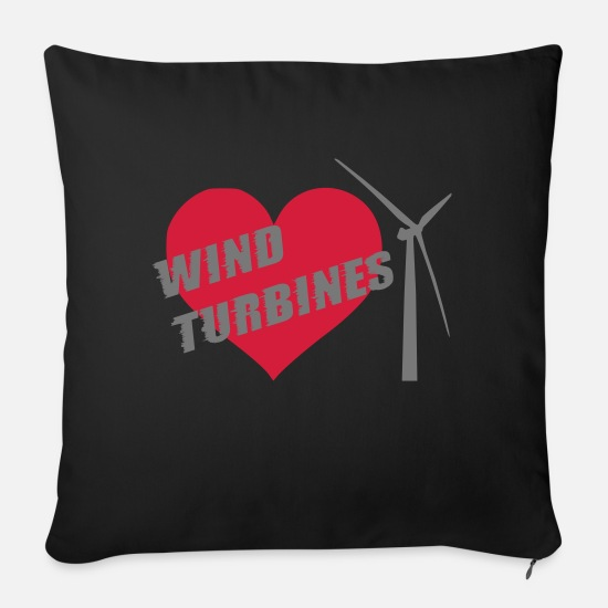Wind Turbine Pillow Cases - wind turbine grey - Pillowcase 17,3'' x 17,3'' (45 x 45 cm) black