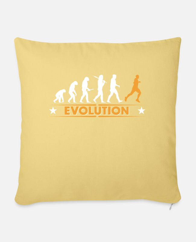 I Love Pillow Cases - Running Evolution - orange/weiss - Pillowcase 17,3'' x 17,3'' (45 x 45 cm) washed yellow