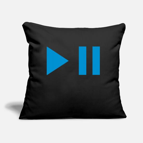 Play Pillow Cases - play pause button 202 - Pillowcase 17,3'' x 17,3'' (45 x 45 cm) black
