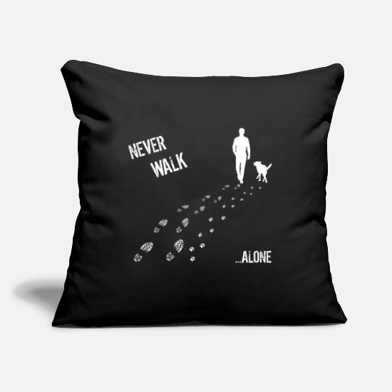 Walk Pillow Cases - MAN AND DOG NEVER WALK ALONE - Pillowcase 17,3'' x 17,3'' (45 x 45 cm) black