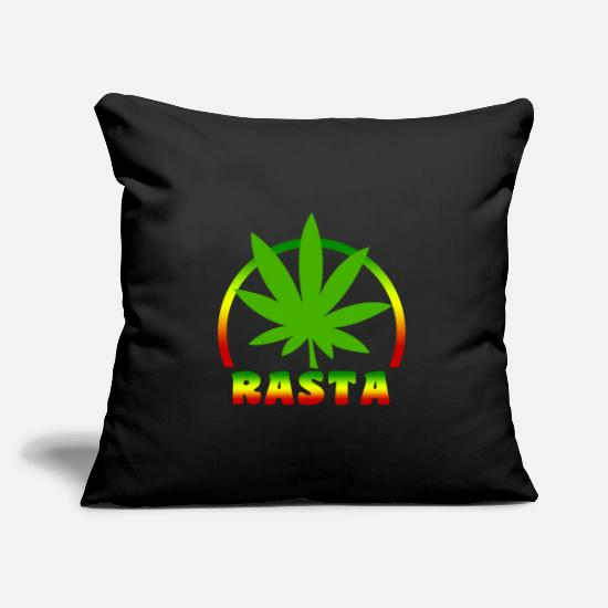 Rasta Pillow Cases - RASTA LEAF - Pillowcase 17,3'' x 17,3'' (45 x 45 cm) black
