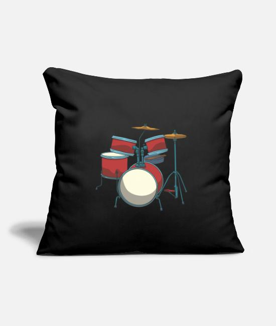 Play Pillow Cases - Drum Basedrum Snare Tomtom Crash Hi-hat - Pillowcase 17,3'' x 17,3'' (45 x 45 cm) black