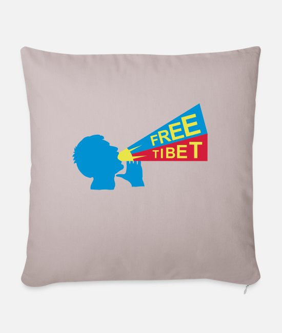 Guiding Hilarious Rights Pillow Cases - free tibet - Pillowcase 17,3'' x 17,3'' (45 x 45 cm) light taupe