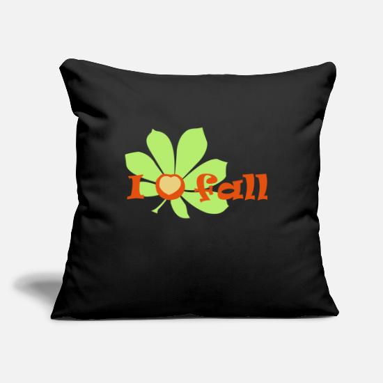 Forest Pillow Cases - I love falling autumn chestnut autumn vector - Pillowcase 17,3'' x 17,3'' (45 x 45 cm) black