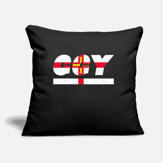 Gift Idea Pillow Cases - Guernsey flag flag GGY - Pillowcase 17,3'' x 17,3'' (45 x 45 cm) black