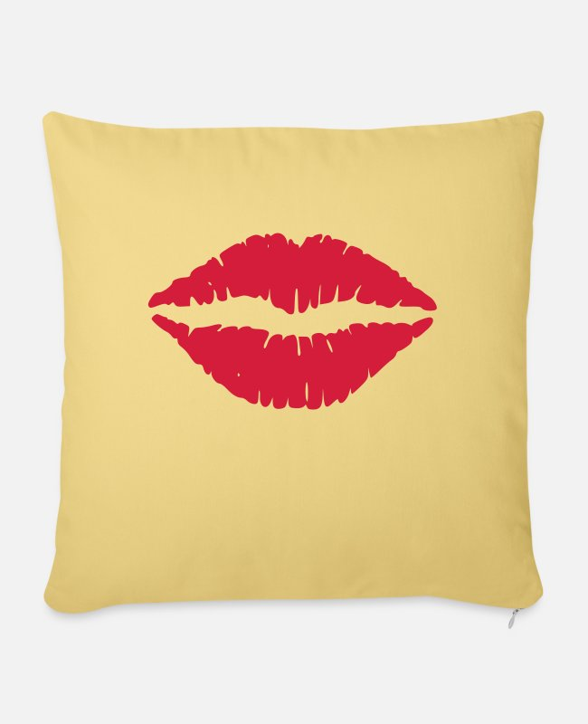 Lip Pillow Cases - Lips - Pillowcase 17,3'' x 17,3'' (45 x 45 cm) washed yellow