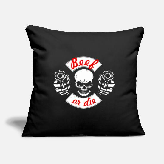 Birthday Pillow Cases - Butcher beef or the skull with cannon - Pillowcase 17,3'' x 17,3'' (45 x 45 cm) black