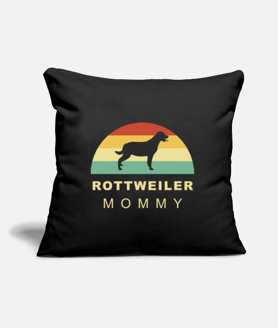 Male Puppy Dog Puppy Pillow Cases - Cool retro vintage Rottweiler dog mom - Pillowcase 17,3'' x 17,3'' (45 x 45 cm) black