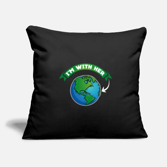 Enviromental Pillow Cases - I'm With Her - Mother Earth Nature Habitat Globe - Pillowcase 17,3'' x 17,3'' (45 x 45 cm) black