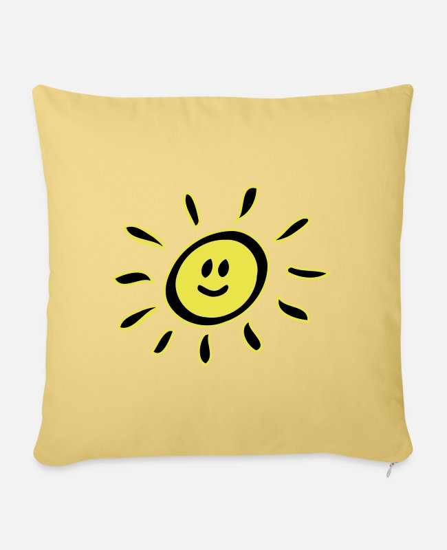 Cheerful Pillow Cases - Smiley sun - Pillowcase 17,3'' x 17,3'' (45 x 45 cm) washed yellow